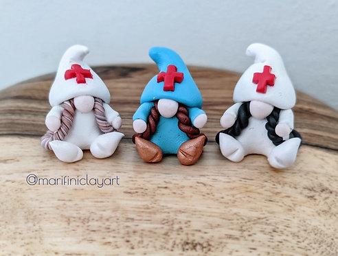 THREE (3) Tiny Girl Doctor/ Nurse Gnomes Set