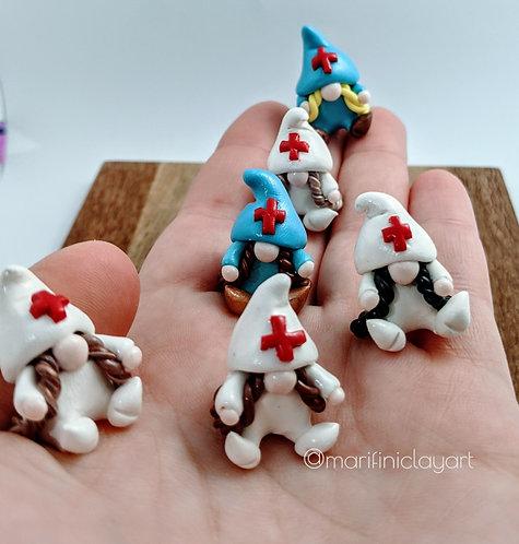 SIX(6) Tiny Girl Doctor/ Nurse Gnomes Set