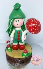 Cute mushroom pixie polymer clay figure