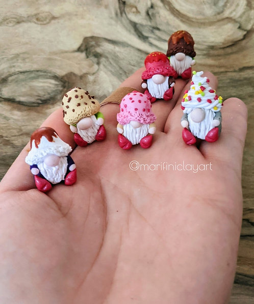 SIX  (6) Tiny Gnomes-ICE CREAM