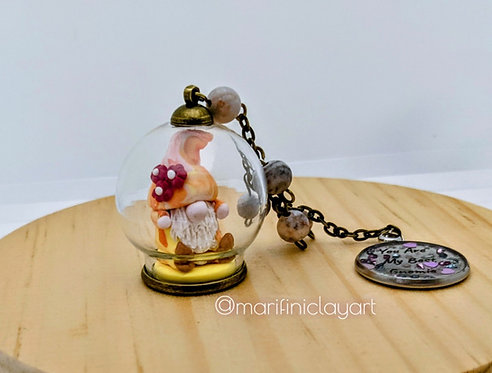 Rad Orange Gnomie- Gnome Bubble Keychain Charm