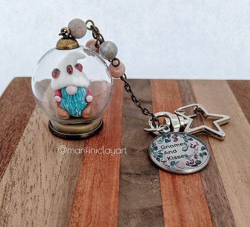 Ladybugs Hat- Gnome Bubble Keychain