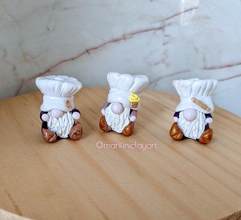 THREE (3) Tiny Gnomes-CHEFS