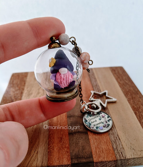 Flower Hat Purple Shades-Gnome Bubble Keychain
