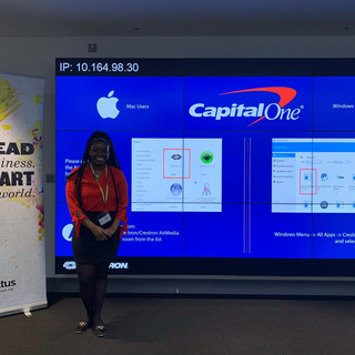 Sandra at Capital One presenting GoWithMe project