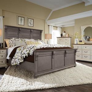 other country bedroom ideas include darker neutral colors that create fun contrast with even bolder prints and designs