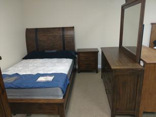 Industrial Queen Sleigh Bed, Dresser, Mirror, Night Stand