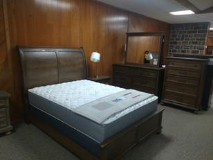 Weathered Oak Queen Sleigh Bed, Dresser, Mirror, Night Stand