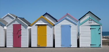 Traditional beach huts on Paignton Beach