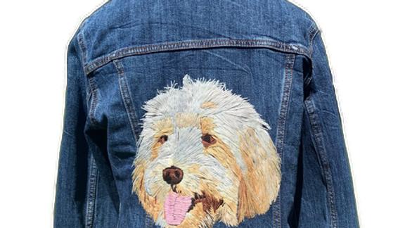 Custom pet portrait Embroidered Jean Jacket