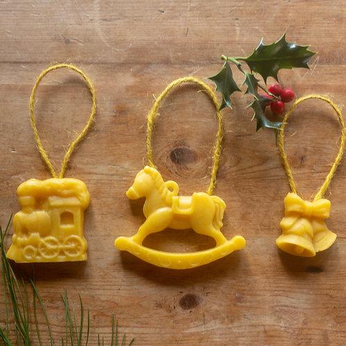 set of three beeswax decorations