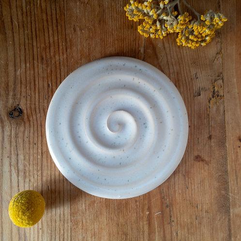 hand thrown swirly ceramic soap dish