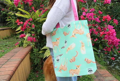 Grassland Animal Tote Bag (Rabbit Deer Racoon Chipmunk)