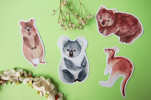 Aussie Animal Stickers (Kangaroo Koala Wombat Quokka)