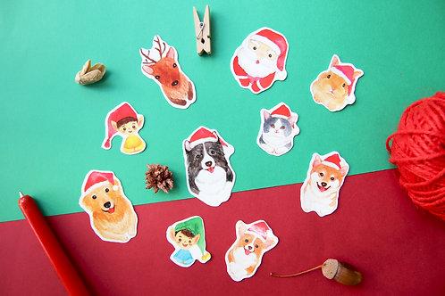 Christmas Animal Stickers Set