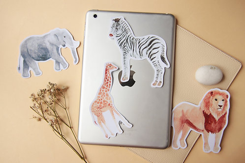 African Animal Stickers (Zebra Lion Elephant Giraffe)