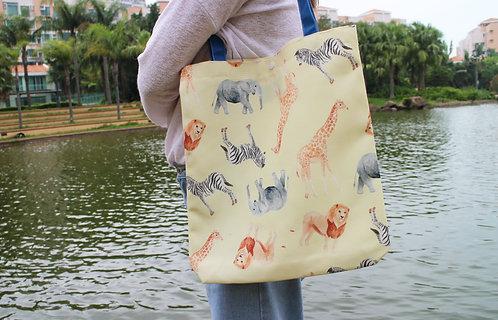 African Animal Tote Bag (Zebra Lion Elephant Giraffe)