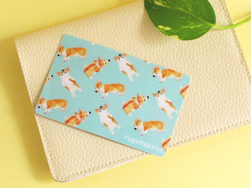 Bau Bau Corgi Card Sticker in Light Blue