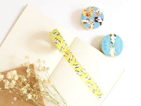 Syrup Cat Washi Tape/ Masking Tape in Yellow