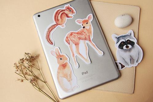 Grassland Animal Stickers (Rabbit Deer Racoon Chipmunk)