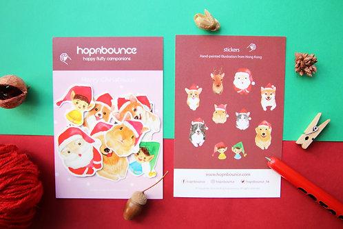 Christmas Animal Postcard and Stickers Set