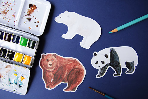 Bear Stickers (Panda Polar Bear Brown Bear)