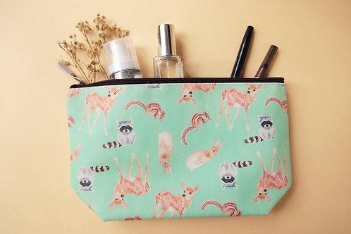 Grassland Animal Cosmetic Bag (Rabbit Deer Racoon Chipmunk)