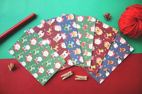 Christmas Animal Postcard Set