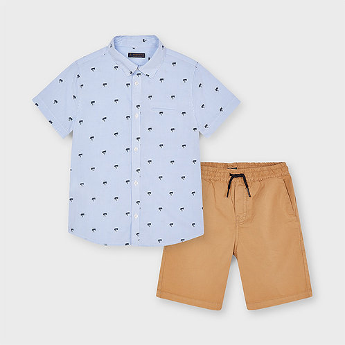MAYORAL Ensemble avec chemise imprimée et bermuda garçon