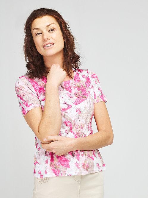 Tee-shirt imprimé et strassé DIANE LAURY