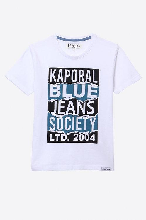 KAPORAL T-shirt Garçon régular blanc imprimé en 100% coton