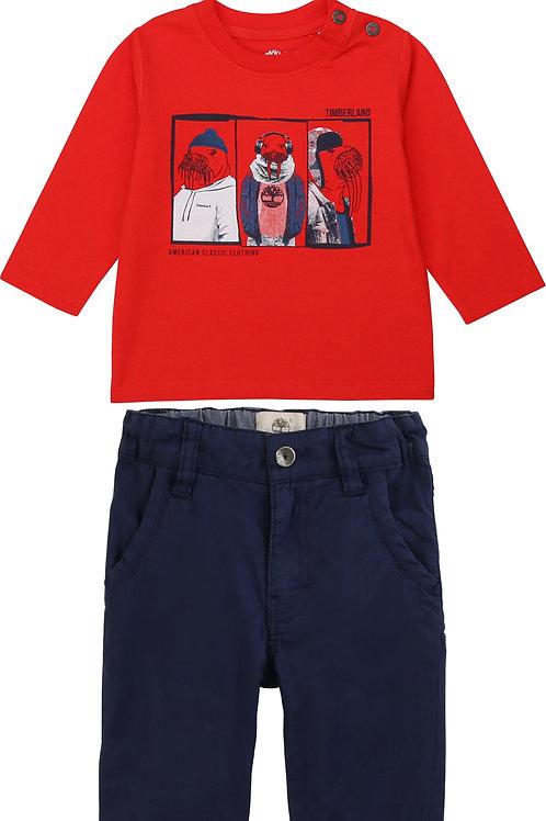 TIMBERLAND T-shirt en jersey coton bio + pantalon twill de coton uni