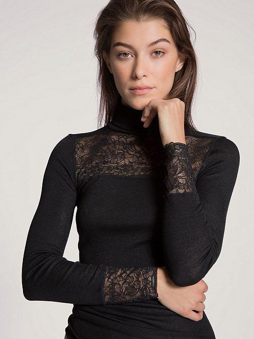 Calida T-shirt à manches longues avec col roulé en mélange de laine et de soie l