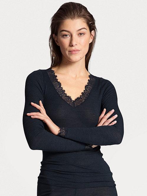 Calida T-shirt à manches longues en laine et soie