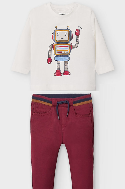 Mayoral T-shirt manche longue play with robot + pantalon long ceinture