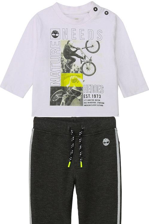 TIMBERLAND T-shirt en coton biologique + pantalon de jogging bi-face