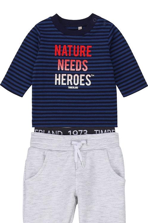 TIMBERLAND T-shirt en coton rayé + pantalon en molleton