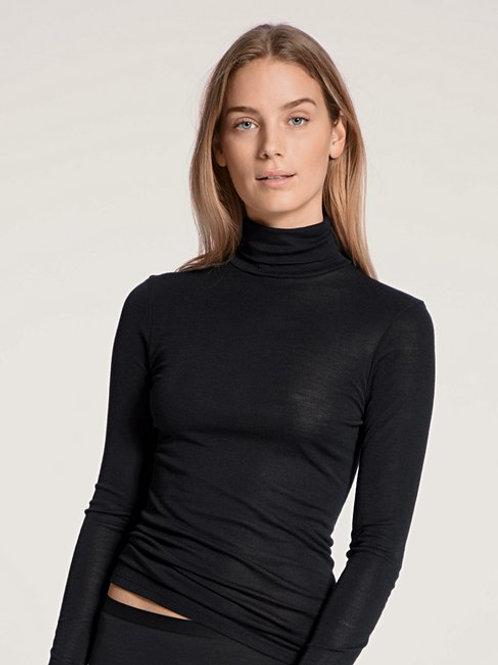 Calida T-shirt à manches longues col roulé en laine et soie