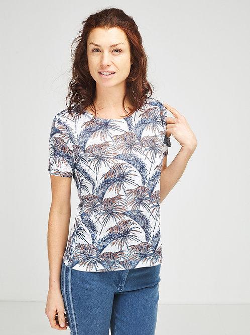 Tee-shirt dévoré imprimé palmiers DIANE LAURY