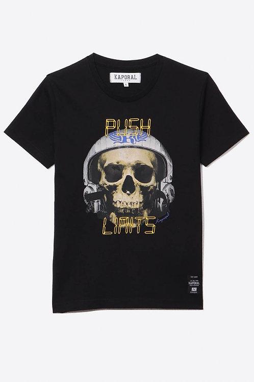 KAPORAL T-shirt régular noir Garçon avec imprimé tête de mort en 100% coton