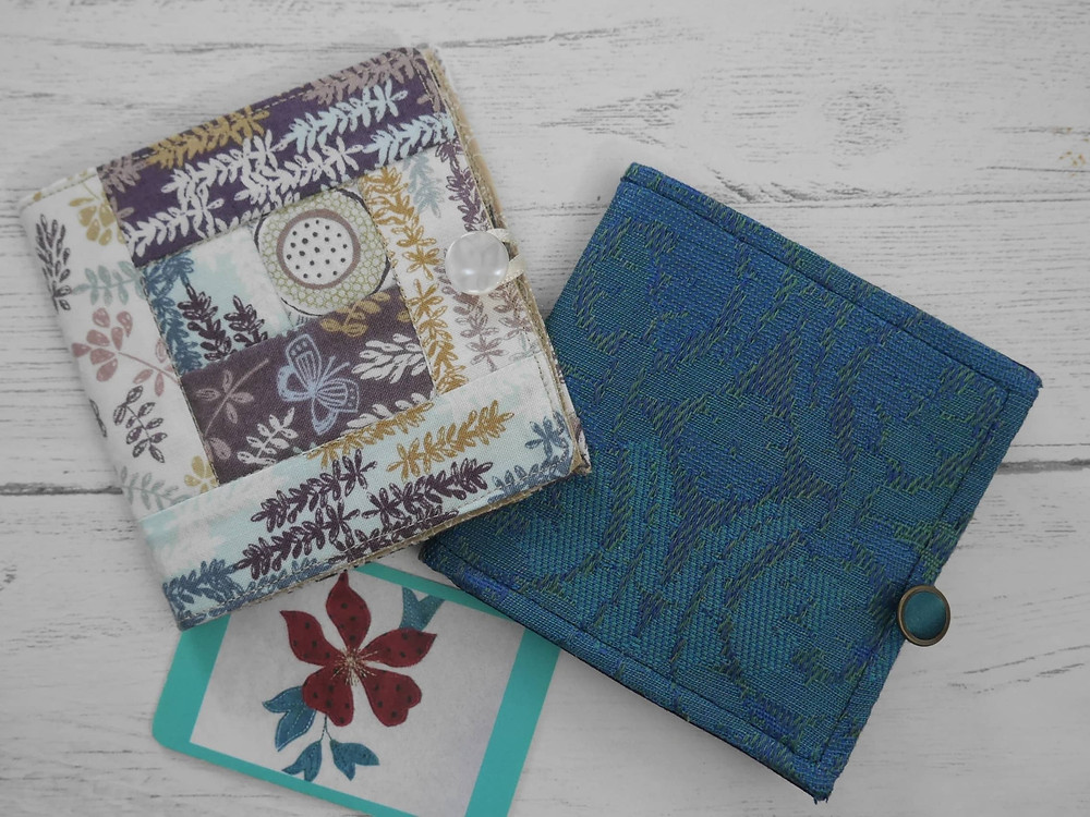 Needle cases made from reclaimed fabrics with felt pages by BarMadeBags on Etsy