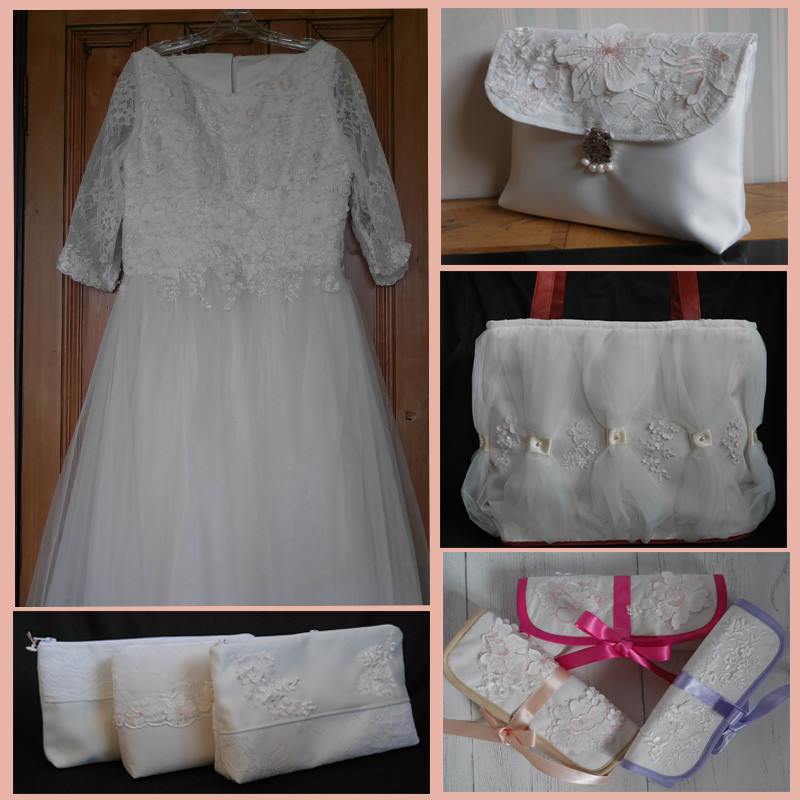 Wedding dress upcycled into bags and jewellery rolls