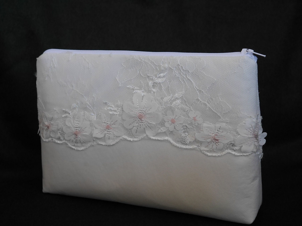 Zipped make-up bag made from satin, tulle and lace from wedding dress
