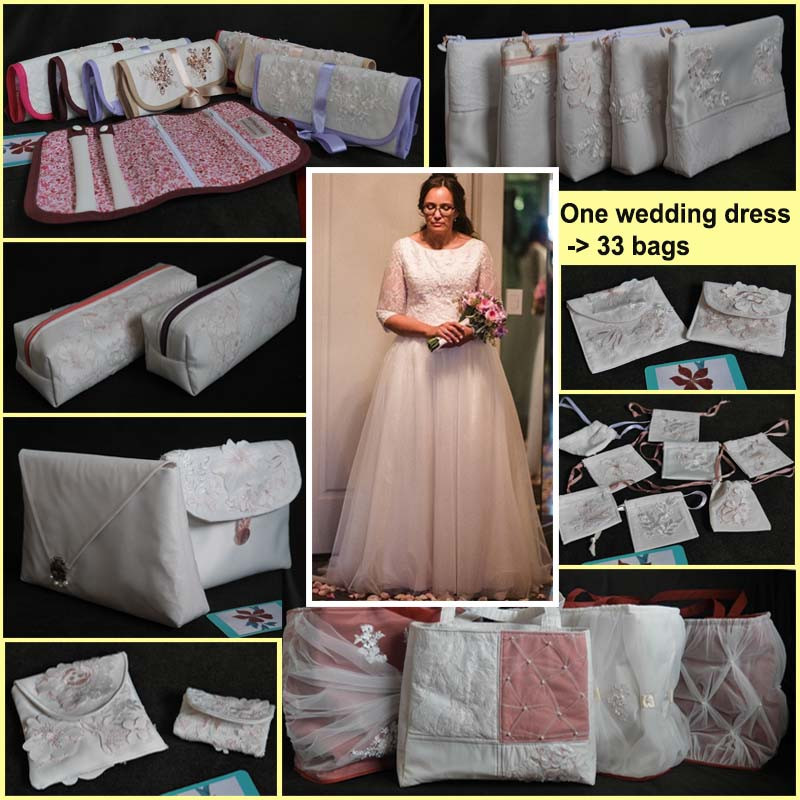 Wedding dress and bags made from it