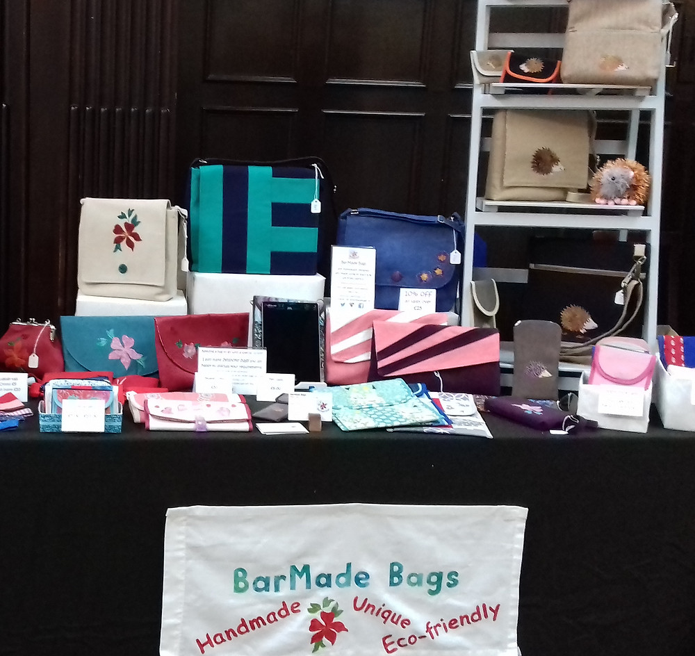 BarMade Bags products for sale at the Wortley Hall craft fair