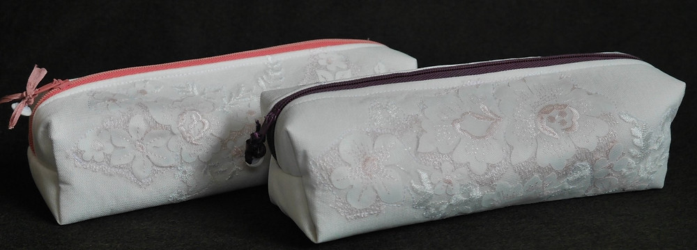 Zipped pencil cases made from wedding dress fabrics