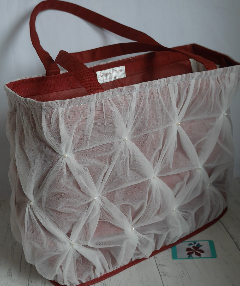 Tote bag made from upcycled wedding dress
