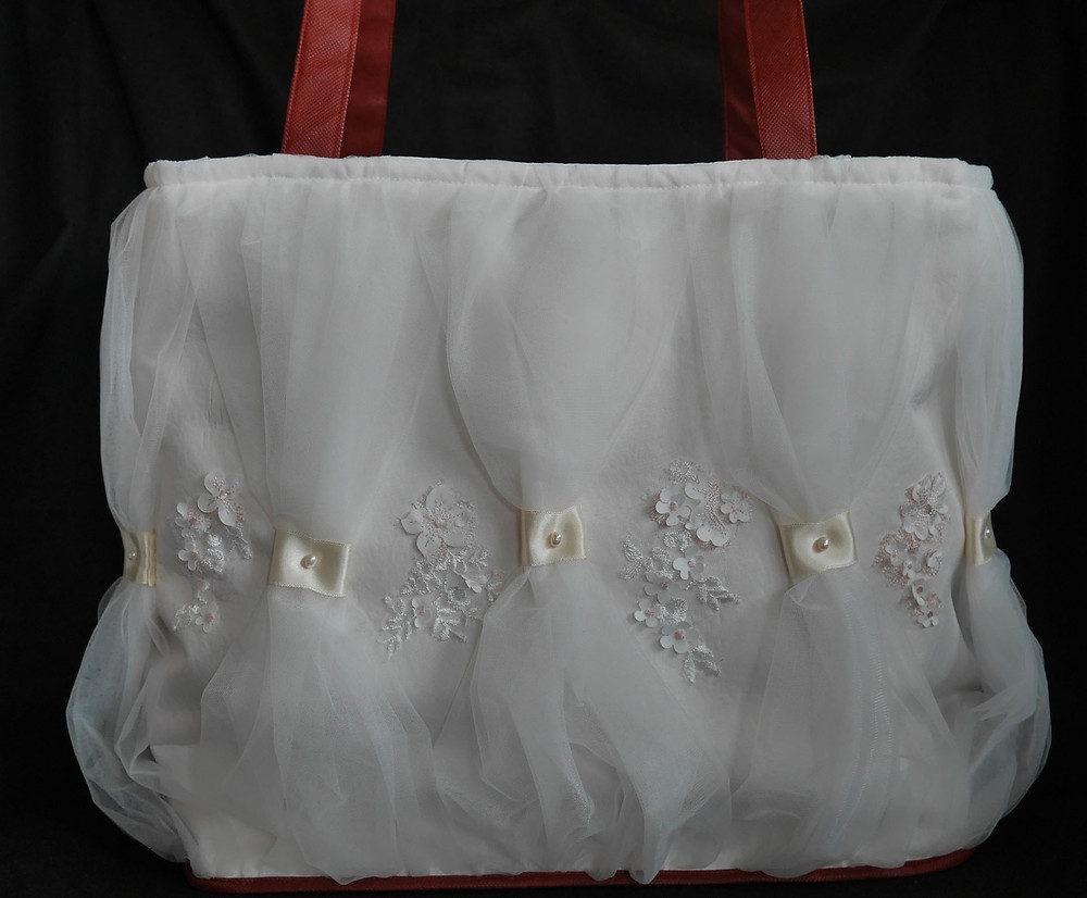 Project tote bag made from upcycled wedding dress fabrics