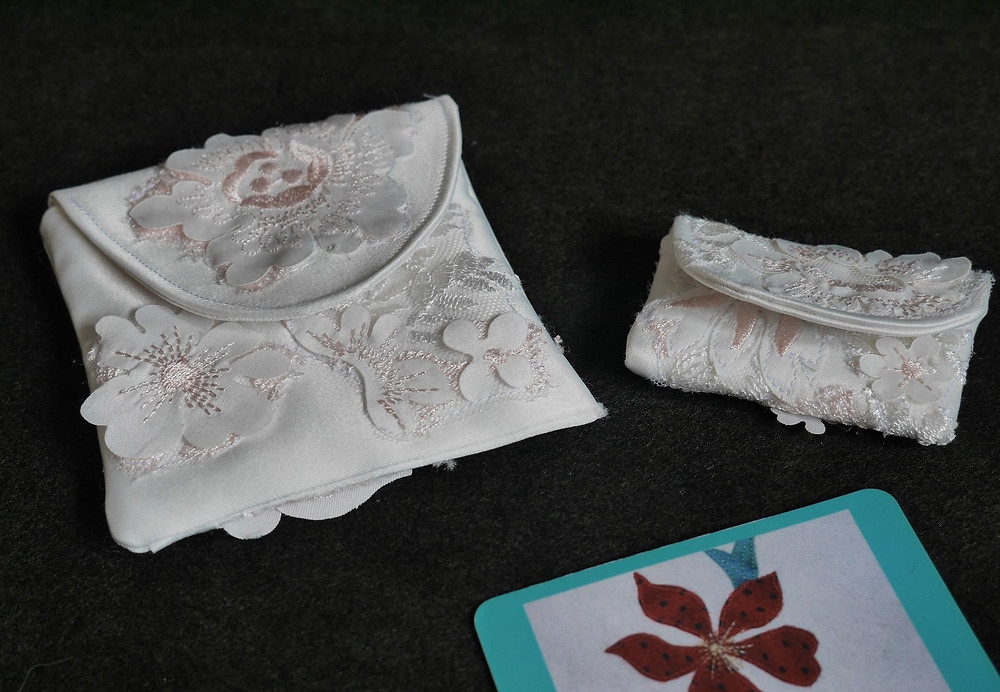 Rosary pouches made from wedding dress silk and lace