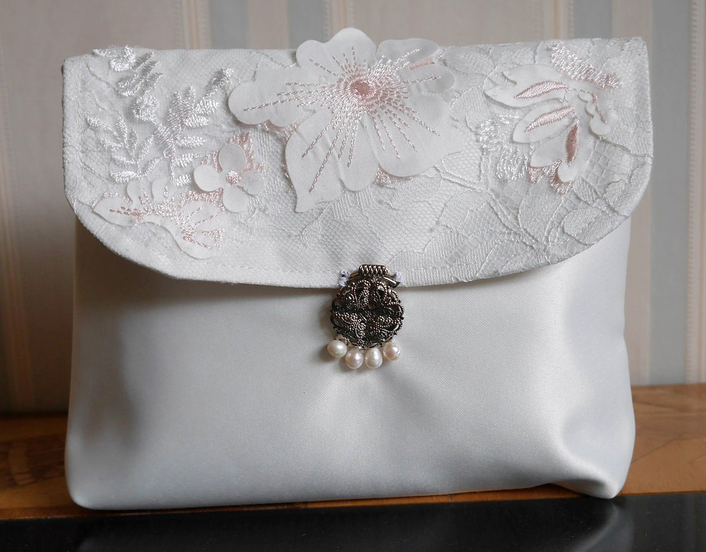 Clutch bag made from wedding dress silk and lace